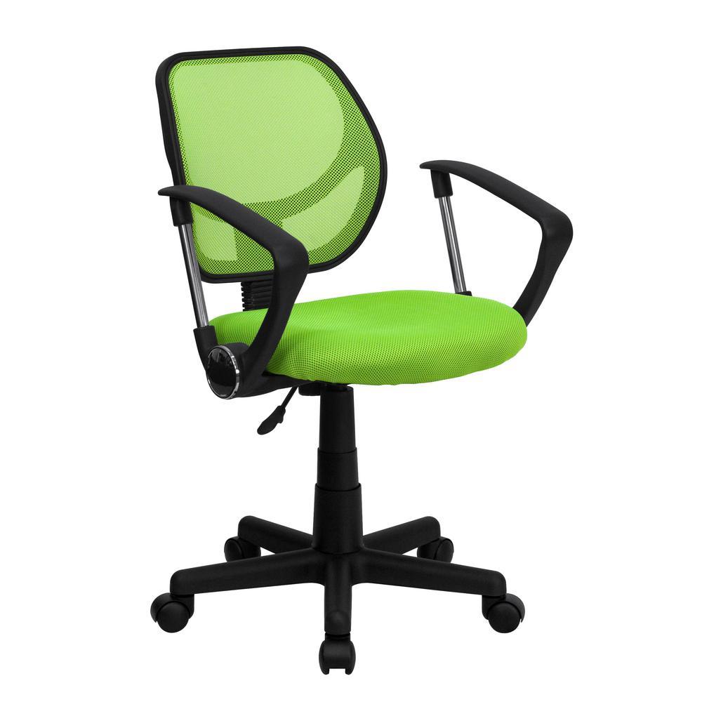 Flash Furniture Green Mesh Swivel Task Chair with Arms WA3074GNARM