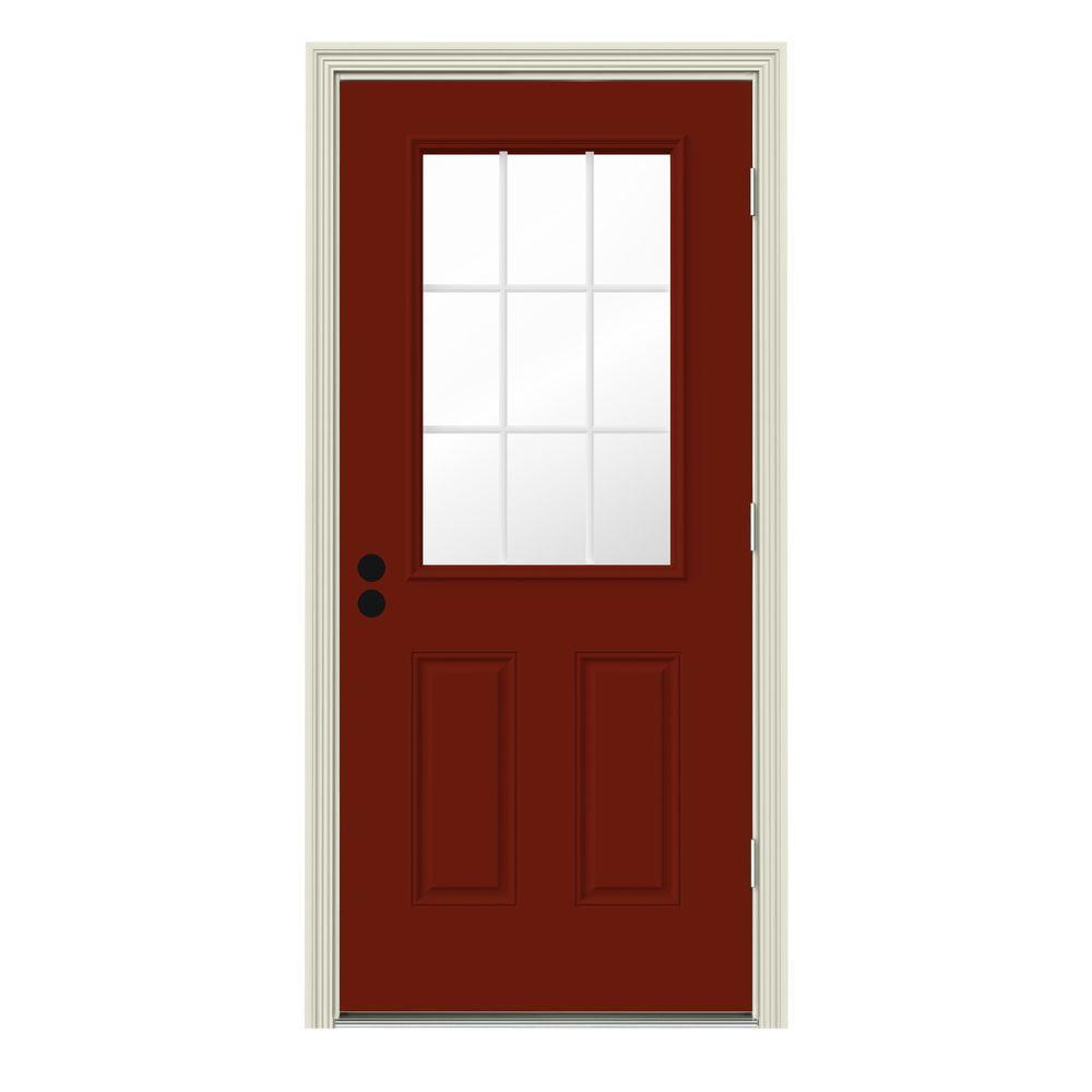Jeld wen 32 in x 80 in 9 lite mesa red w white interior for Jeld wen front entry doors