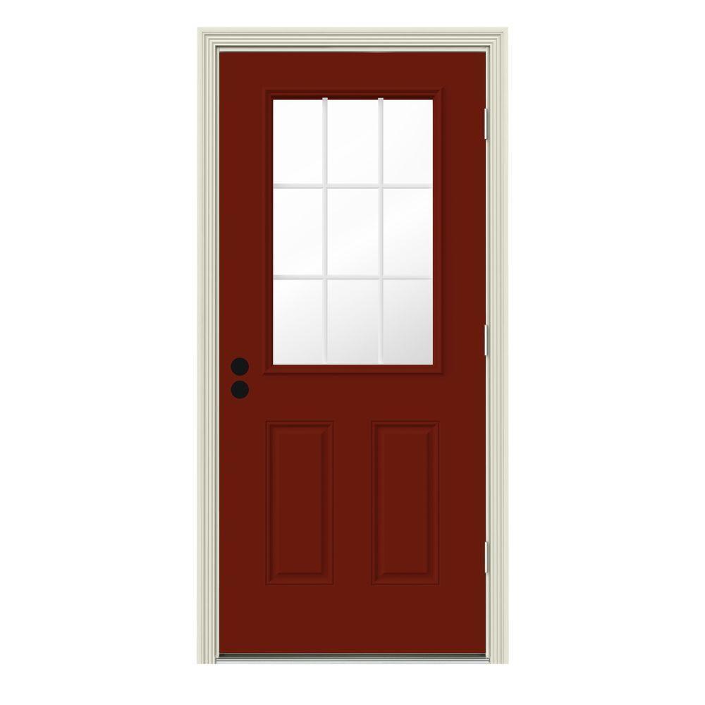 Jeld Wen 32 In X 80 In 9 Lite Mesa Red W White Interior