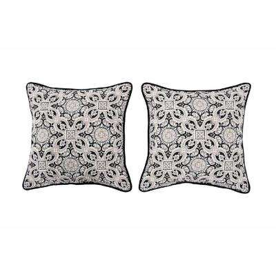Medallion Alabaster Square Outdoor Throw Pillow (2-Pack)