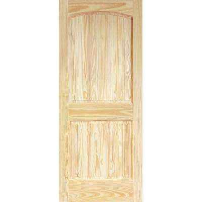 36 in. x 80 in. Unfinished 2 Panel Arch Top V-Groove Solid Core Pine Interior Door Slab