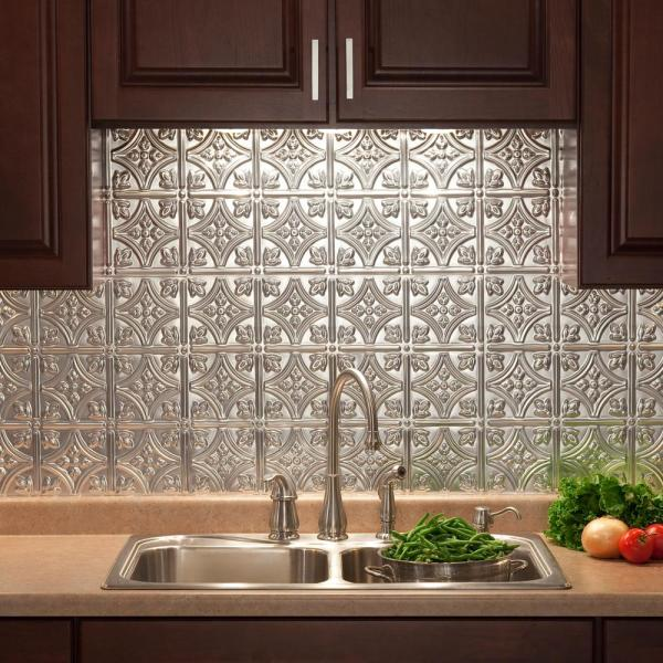Fasade Traditional 1 18 In X 24 In Brushed Aluminum Vinyl Decorative Wall Tile Backsplash 15 Sq Ft Kit N50 08 The Home Depot
