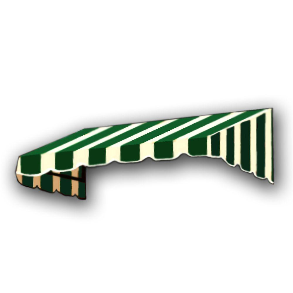 AWNTECH 8 ft. San Francisco Window/Entry Awning Awning (18 in. H x 36 in. D) in Forest / White Stripe