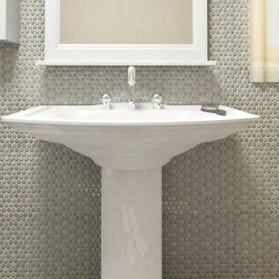 Hudson Penny Round Matte Cookies and Cream 12 in. x 12-5/8 in. x 5 mm Porcelain Mosaic Tile