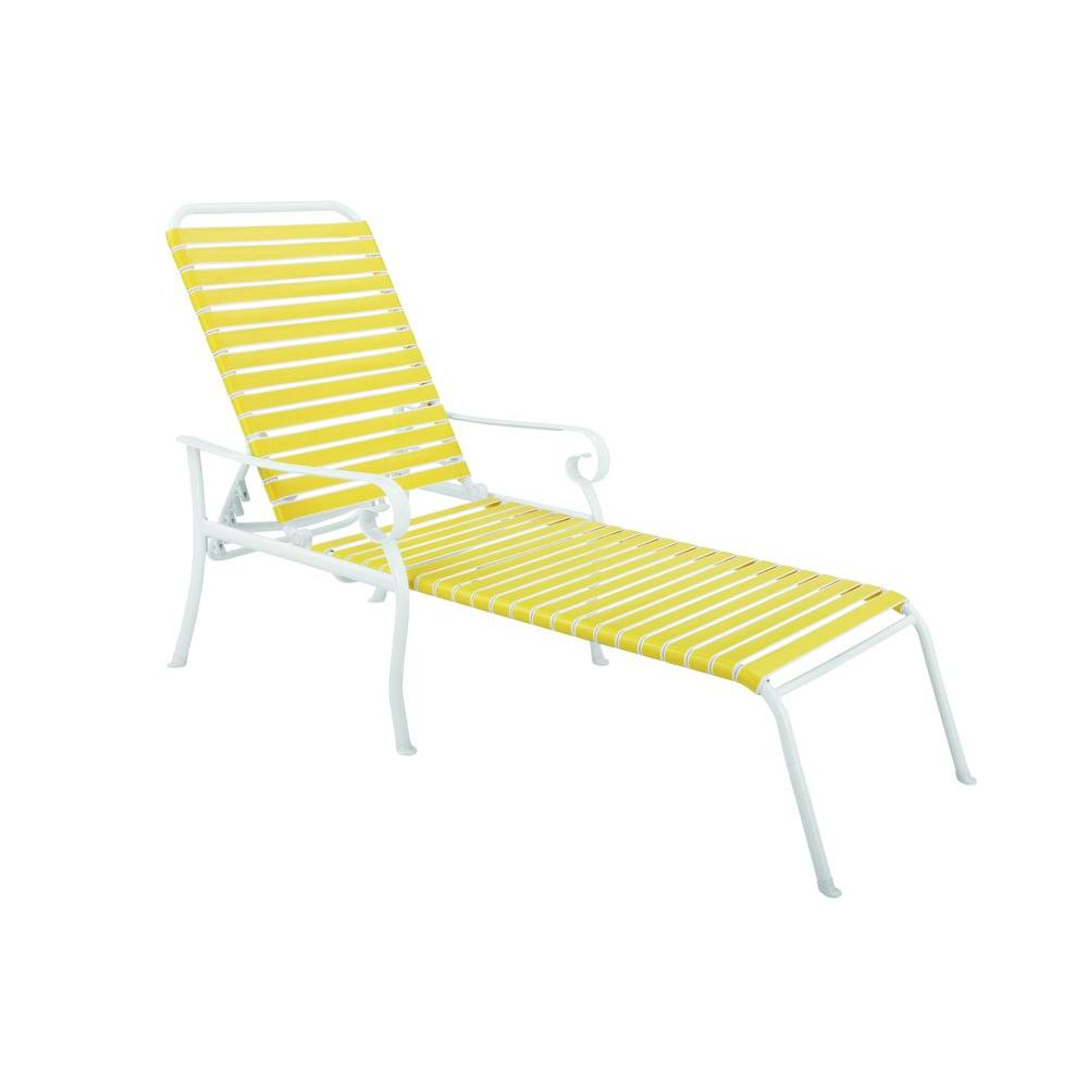Hampton Bay Summerville Patio Chaise Lounge in Yellow-DISCONTINUED