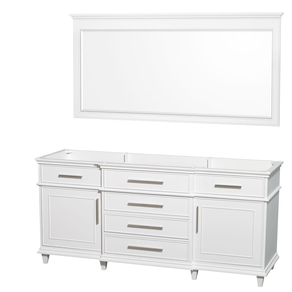 Berkeley 71 in. Vanity Cabinet with Mirror in White