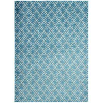 Alpina Collection Blue and Ivory 5 ft. 3 in. x 7 ft. 3 in. Stripes Area Rug