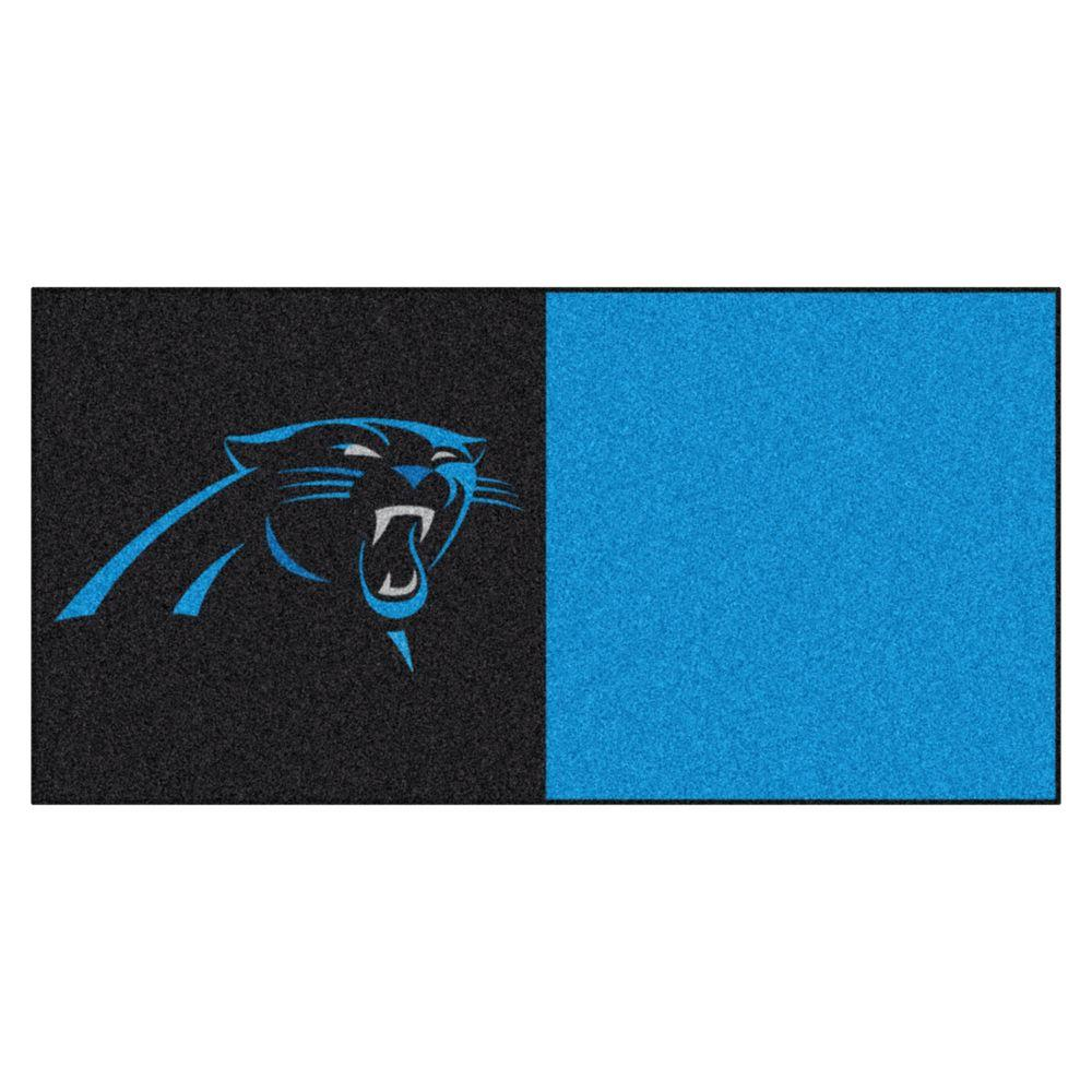 TrafficMASTER NFL - Carolina Panthers Black and Blue Nylon 18 in. x 18 in. Carpet Tile (20 Tiles/Case)