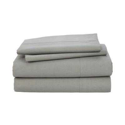 Organic 4-Piece Taupe Solid 200-Thread Count Cotton Percale Queen Sheet Set