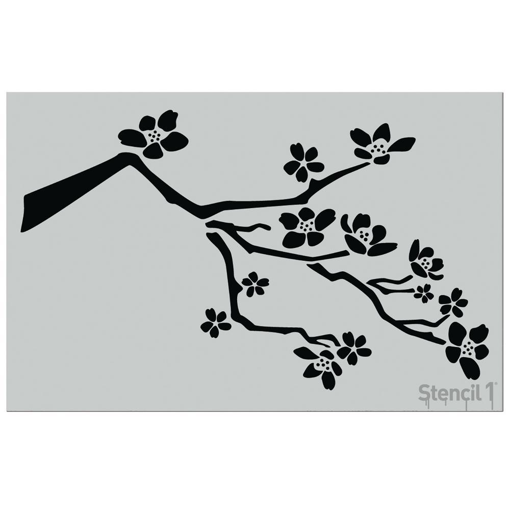 Cherry Blossom Flower Stencil: Stencil1 24 In. Cherry Blossom Branch Stencil-S1_01_126L