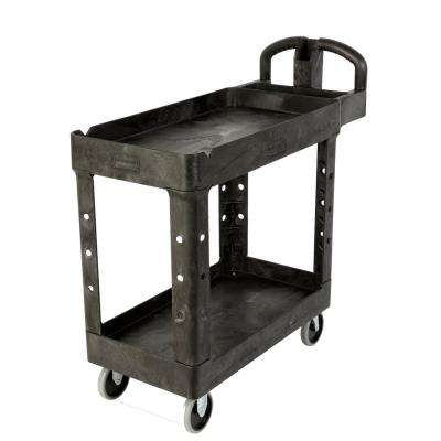 25.9 in. W Heavy Duty Black 2-Shelf Utility Cart with Lipped Shelf in Medium