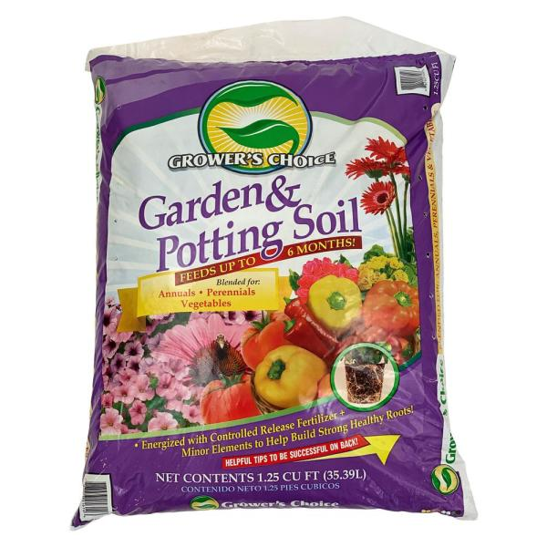 Grower's Choice Garden Potting Soil Annuals Perrenials Vegetables 1.25 Cu. Ft. Flowering Mix