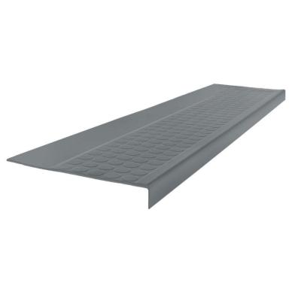Low Profile Raised Circular Design Dark Gray 12.5 in. x 48 in. Rubber Square Nose Stair Tread