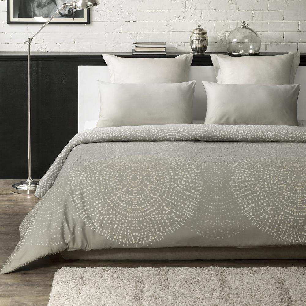 Humus Wrinkle Resistant Reversible Print 100% Organic Cotton Beige Queen Duvet Cover Set