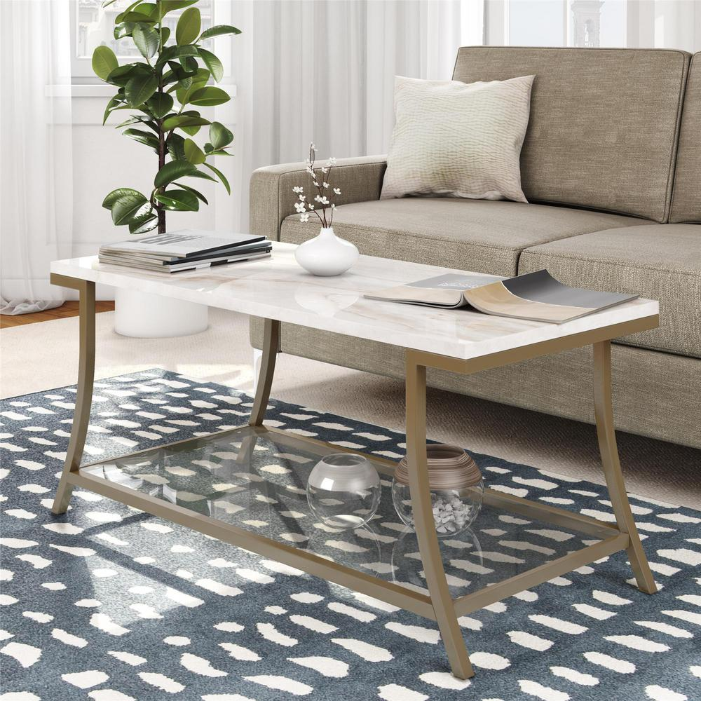 Novogratz cecilia soft brass coffee table with faux marble top