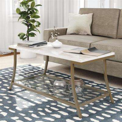 Cecilia Soft Brass Coffee Table with Faux Marble Top