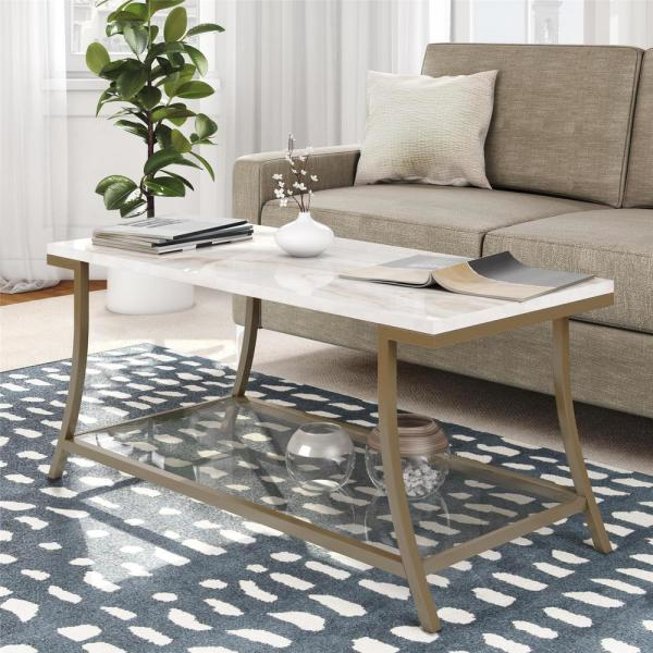 Marble Top Brass Coffee Table.Novogratz Cecilia Soft Brass Coffee Table With Faux Marble Top