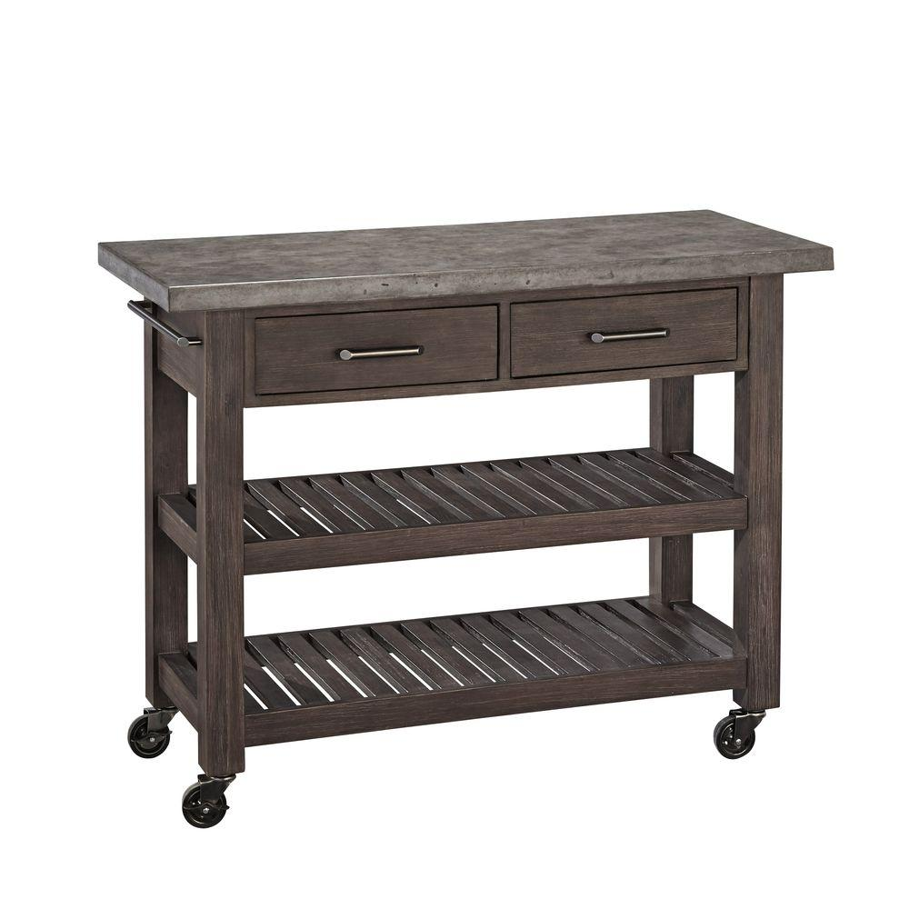 Home styles concrete chic brown kitchen cart with concrete top
