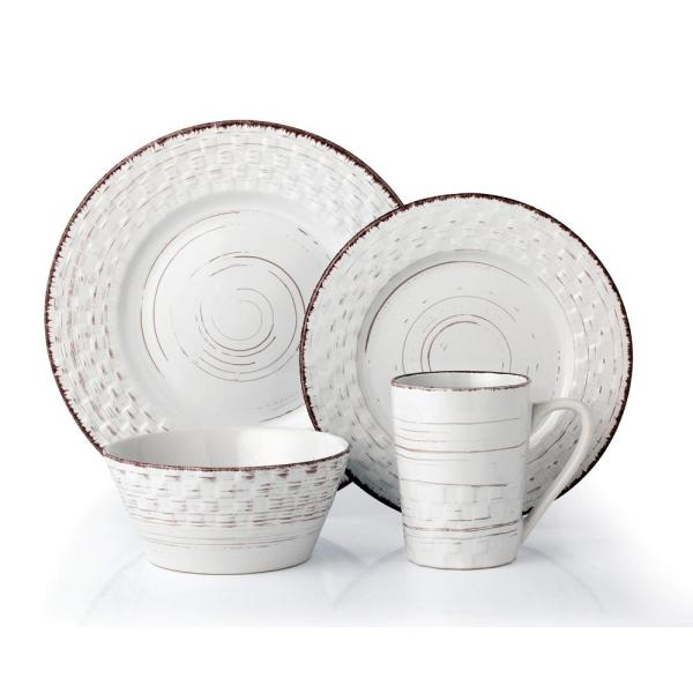 16-Piece White Distressed Weave Dinnerware Set