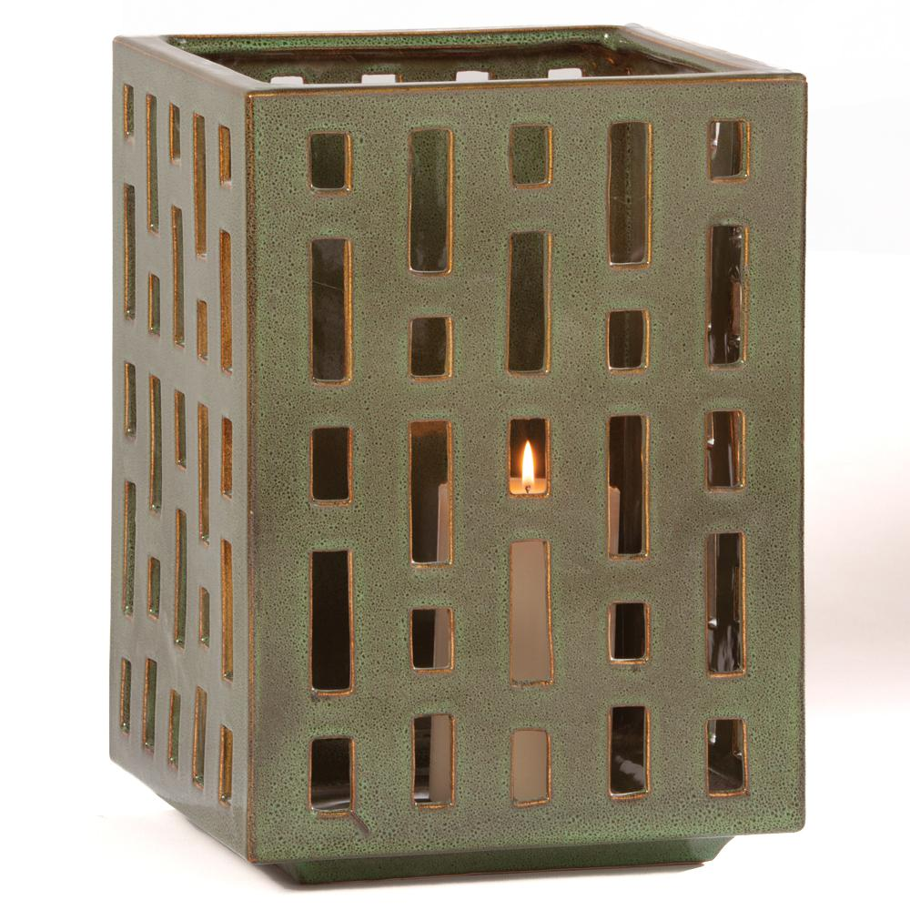 Alfresco Genoa Ceramic Garden Lantern Garden Statue The Alfresco Home 14 in. Genoa Ceramic Garden Lantern provides an artistic and beautiful addition to any landscape, garden, patio, or home. This beautiful Lantern is carefully and uniquely handcrafted skilled artisans. Enhance your patio or home with this sophisticated and elegant lantern.