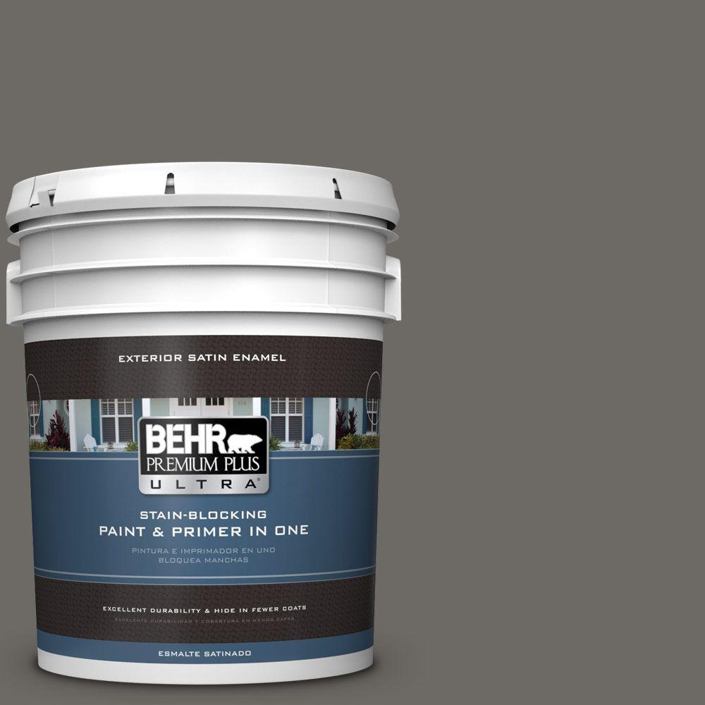 BEHR Premium Plus Ultra 5-gal. #PPU18-18 Mined Coal Satin Enamel Exterior Paint
