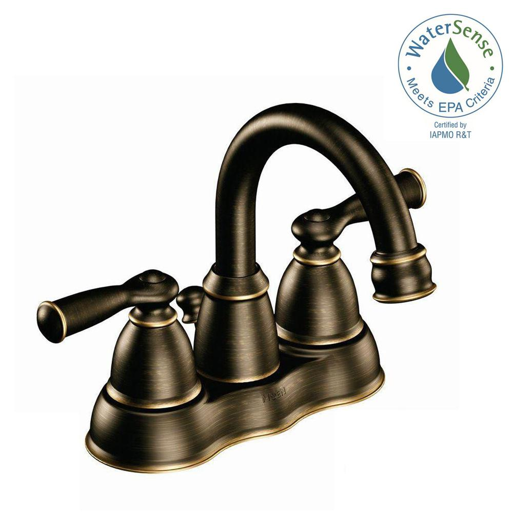 MOEN Banbury 4 in. Centerset 2-Handle High-Arc Bathroom Faucet in Mediterranean Bronze