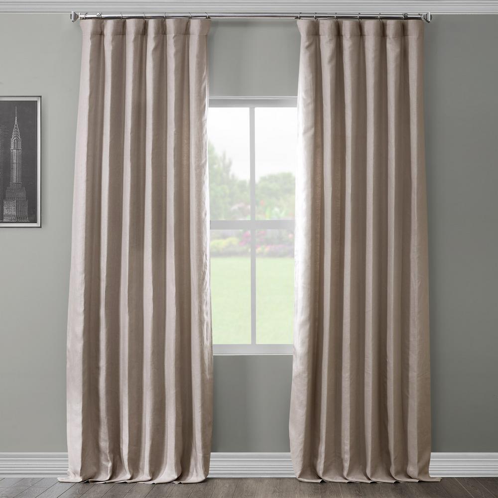 Earl Grey French Linen Curtain - 50 in. W x 84 in. L