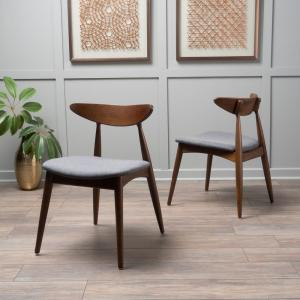 Barron Charcoal and Walnut Upholstered Dining Chairs (Set of 2)