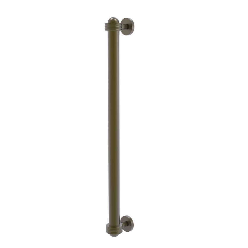 Allied Brass 18 in. Center-to-Center Refrigerator Pull with Groovy Aents in Antique Brass Transform your kitchen with this elegant Refrigerator and Appliance Pull. This pull is designed for replacing the pulls or handles on your built-in refrigerator, freezer or any other built in appliance. Appliance pull is made of solid brass and provided with a lifetime finish to insure products will provide a lifetime of service.