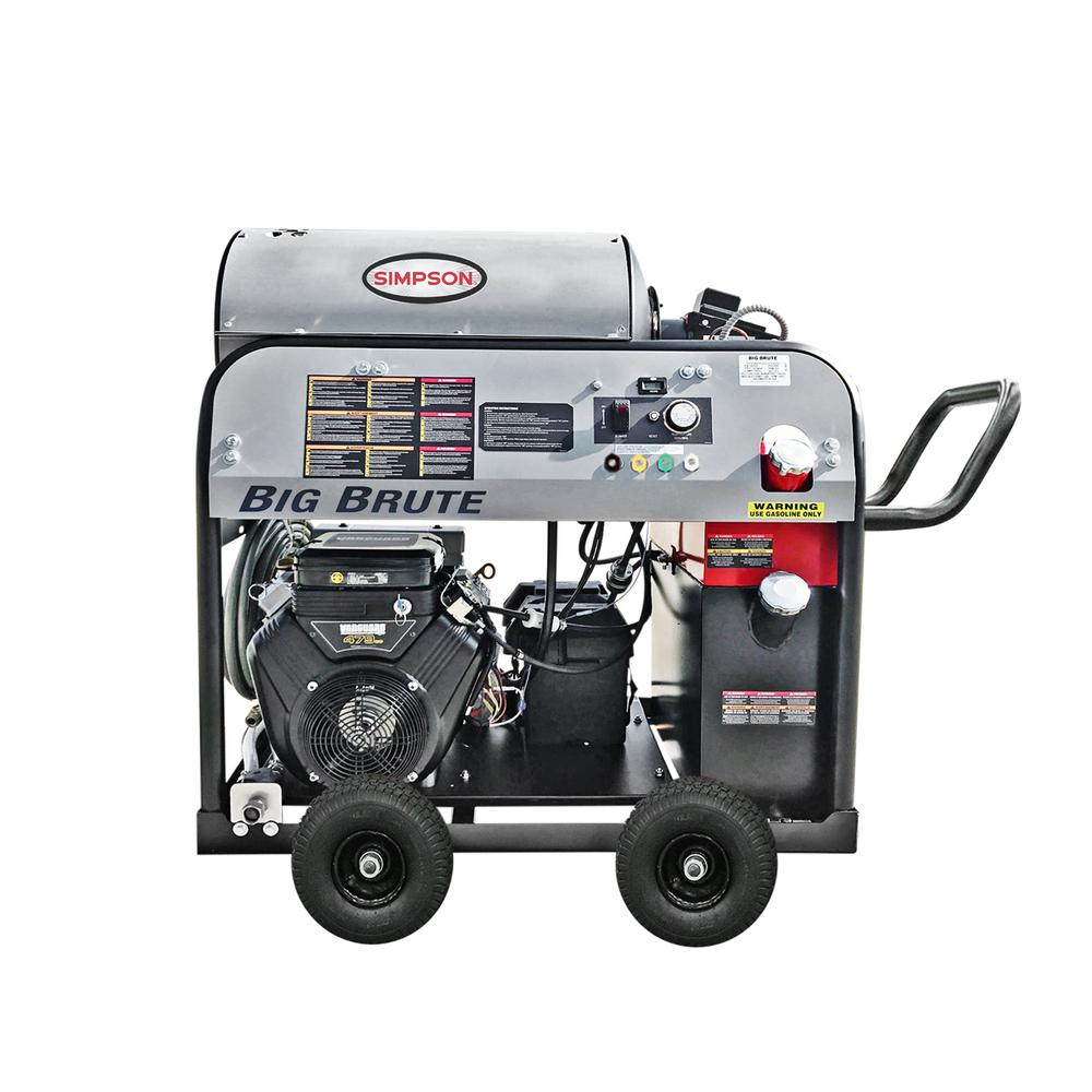 Simpson Big Brute 4000 PSI at 4.0 GPM Hot Water VANGUARD V-Twin Gas Pressure Washer with COMET Triplex Plunger Pump