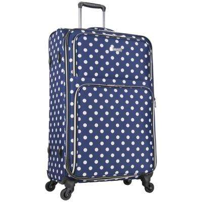 Albany Park 28 in. Lightweight Navy/White Polka Dot Printed Expandable 4-Wheel Checked Luggage