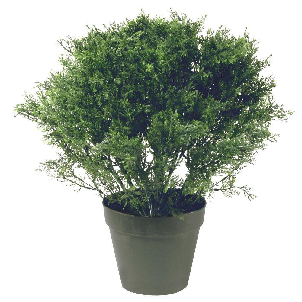 20 in. Global Juniper Artificial Tree in Dark Green Round Growers Pot