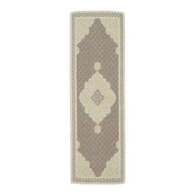 Nature Cotton Kilim Collection Grey Medallion Design 3 ft. x 6 ft. Runner Rug