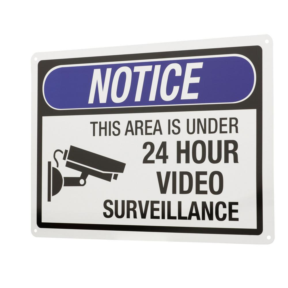 Everbilt 10 in. x 14 in. 24-Hour Video Surveillance Sign