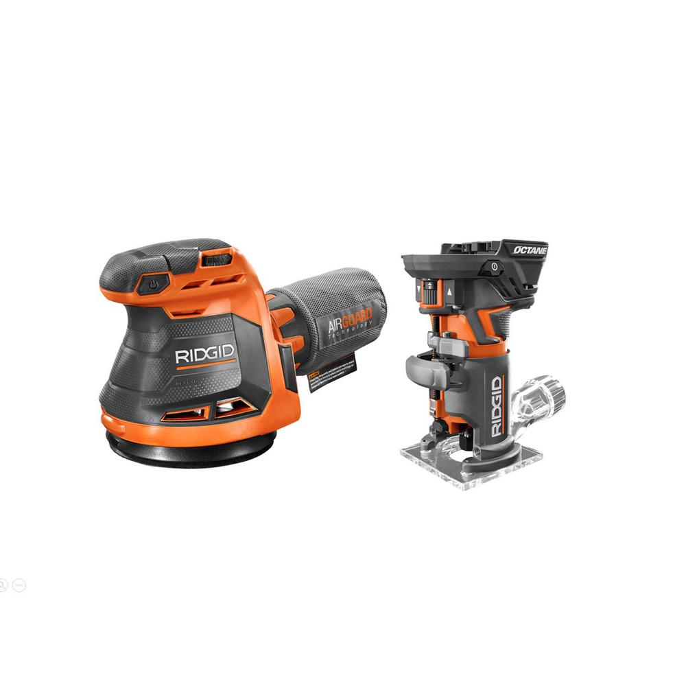 RIDGID 18-Volt OCTANE Cordless Brushless Compact Fixed Base Router and Random Orbital Sander was $208.0 now $129.0 (38.0% off)