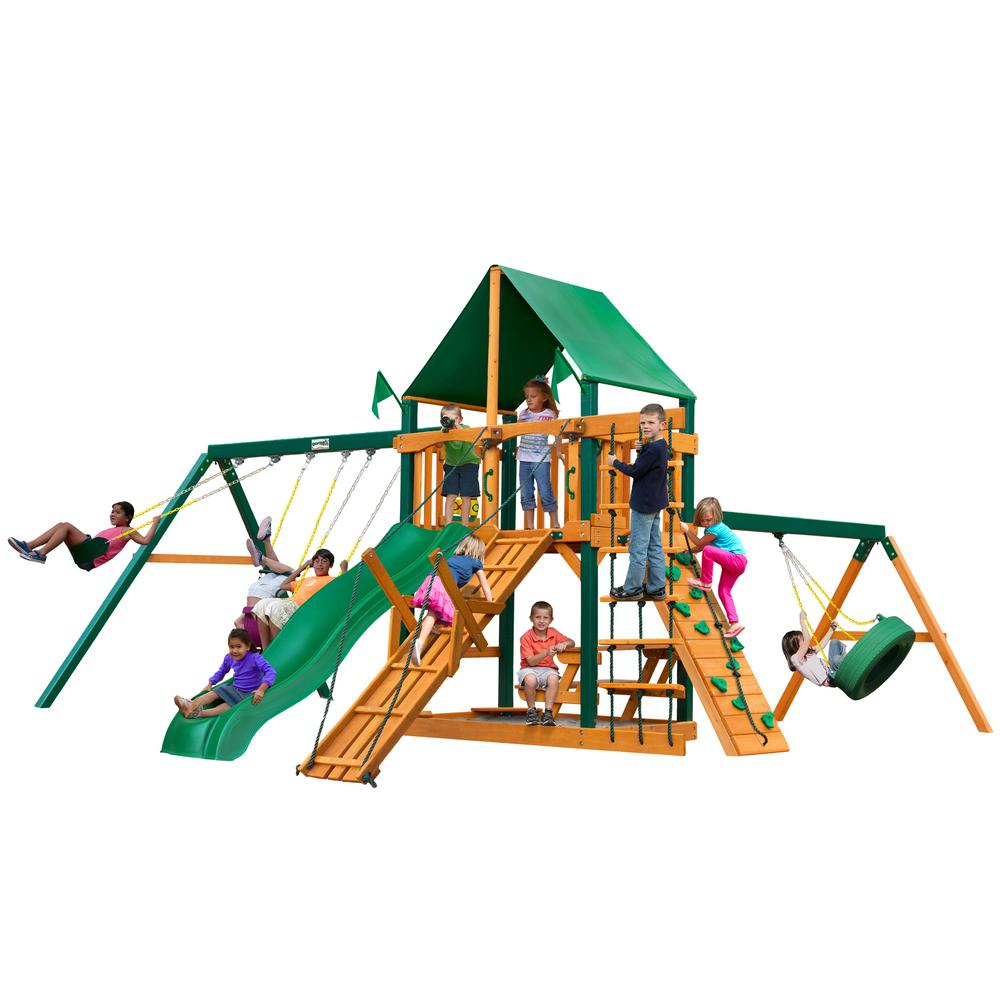 Frontier Wooden Playset with Green Vinyl Canopy, Timber Shield Posts and