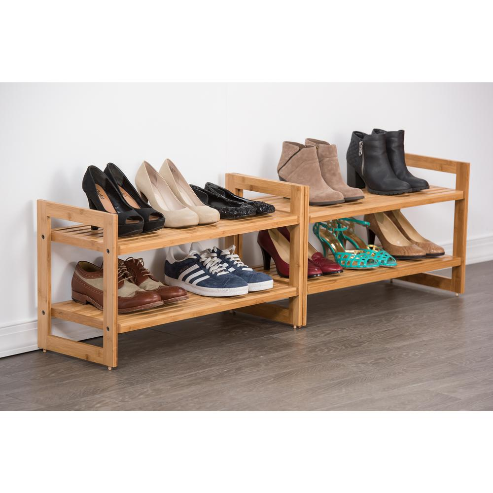 Stackable 2-Tier 18-Pair Bamboo Shoe Organizer (2-Pack)