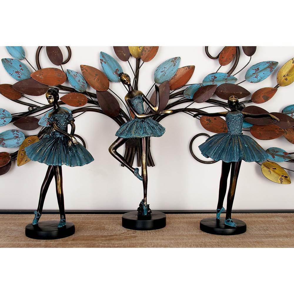 Polystone Ballerinas in Tutus Sculptures on Round Base (Set of 3)
