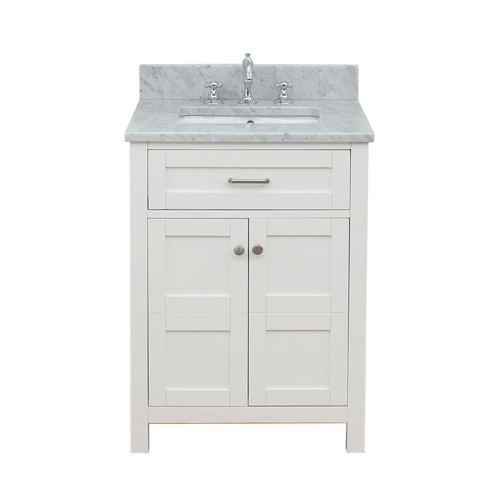 Vancouver 25 in. W x 34 in. H Bath Vanity in White with Marble Vanity Top in White with White Basin