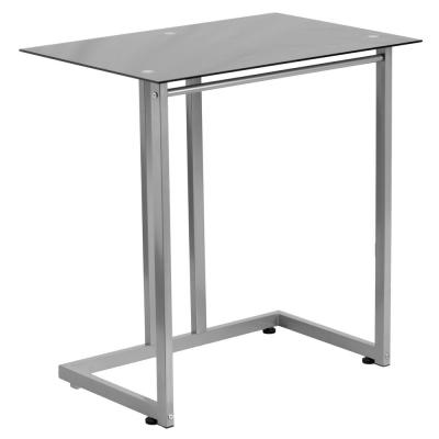 27.5 in. Rectangular Black/Silver Computer Desks with Glass Top