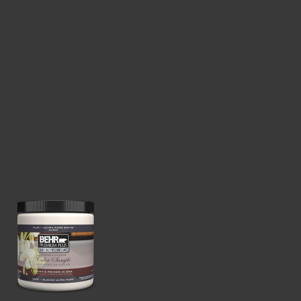 BEHR Premium Plus Ultra 8 oz. #PPH-34 Black Smoke Interior/Exterior Paint Sample