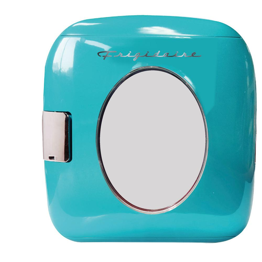 Frigidaire 12 Can Mini Retro Beverage Cooler in Turquoise The Frigidaire 12 can mini beverage cooler is a cool and fun way to keep your favorite beverages and small snacks cold. The retro design will look great with any decor whether contemporary or traditional. It is perfect for a dorm room, office or RV. Color: Turquoise.