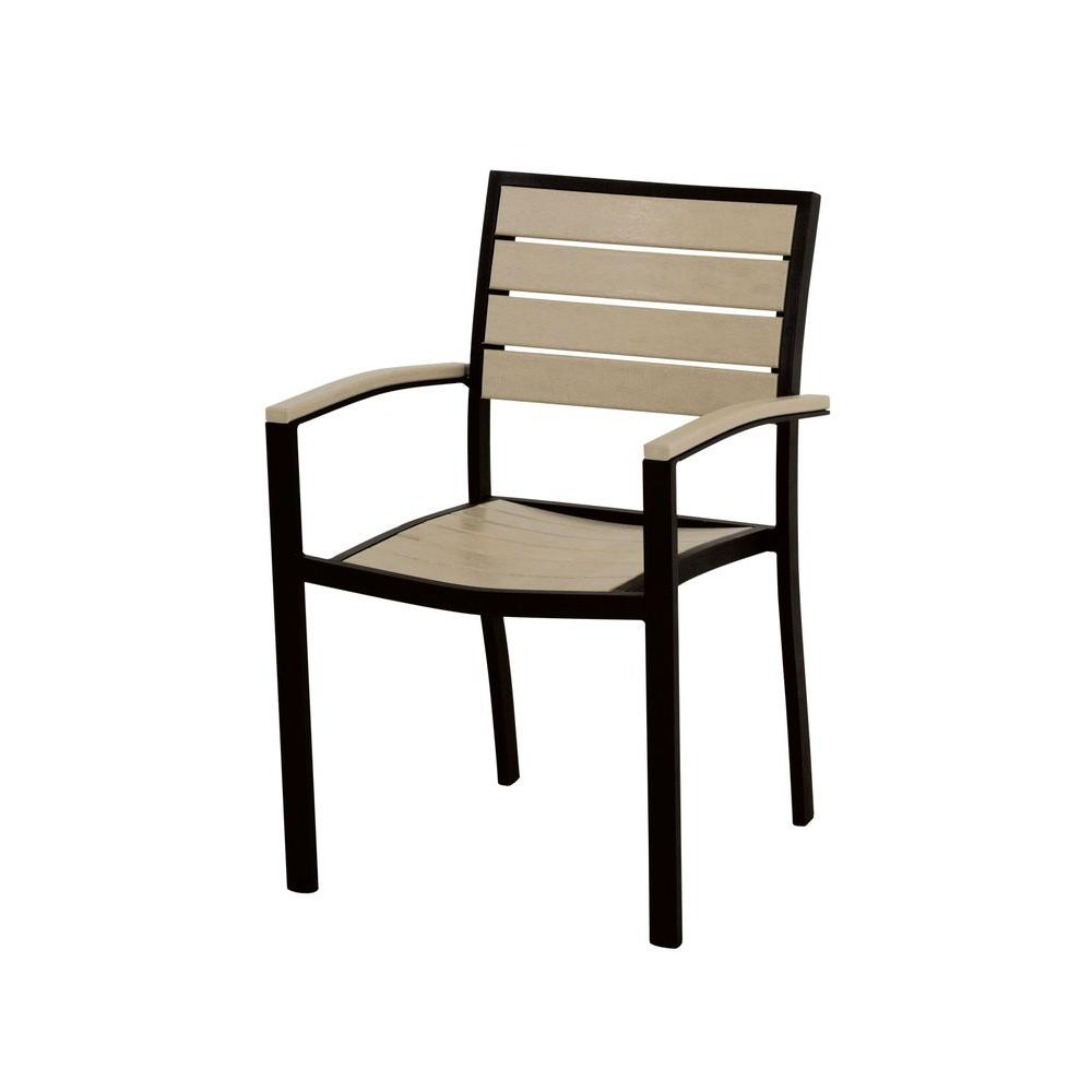 Euro Textured Black Patio Dining Arm Chair with Sand Slats