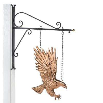 Hanging Bald Eagle Pure Copper Weathervane Sign with Decorative Bracket