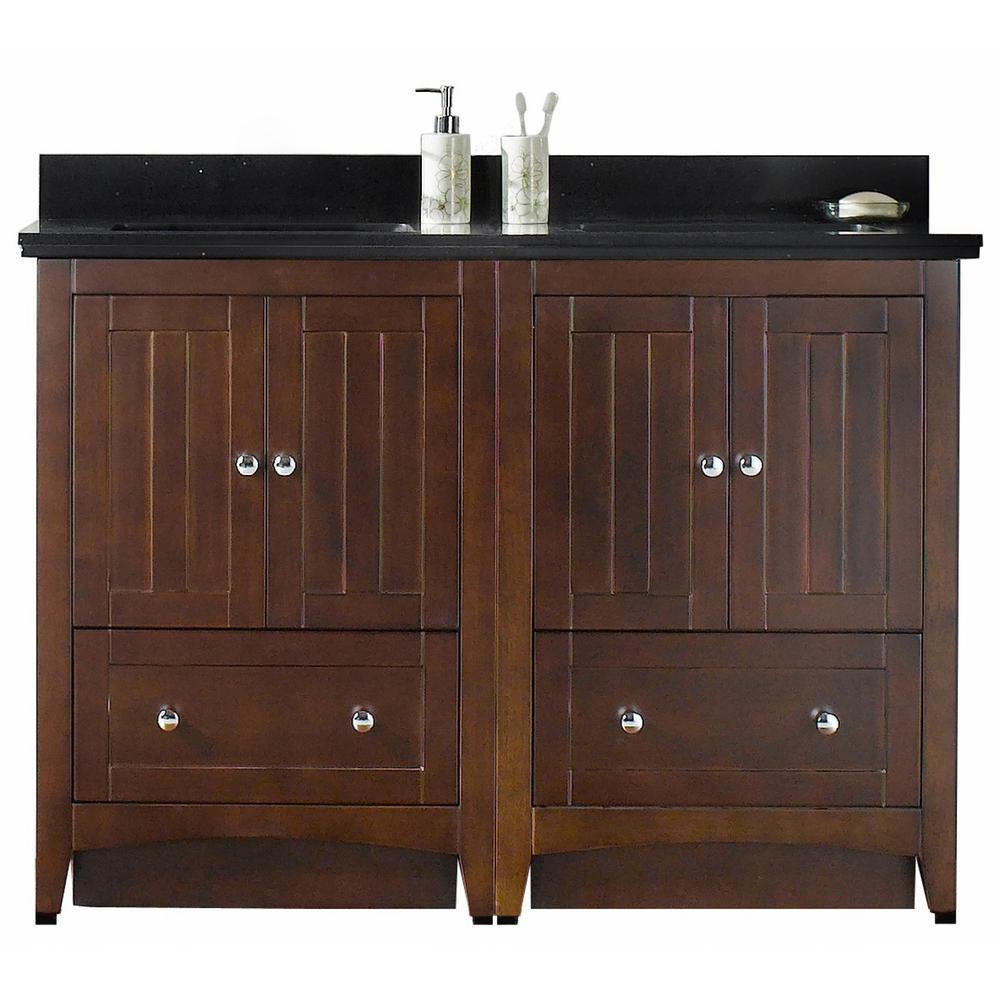 16-Gauge-Sinks 47.5 in. W x 18.25 in. D Bath Vanity in Walnut with Stone Vanity Top in Black Galaxy with White Basin