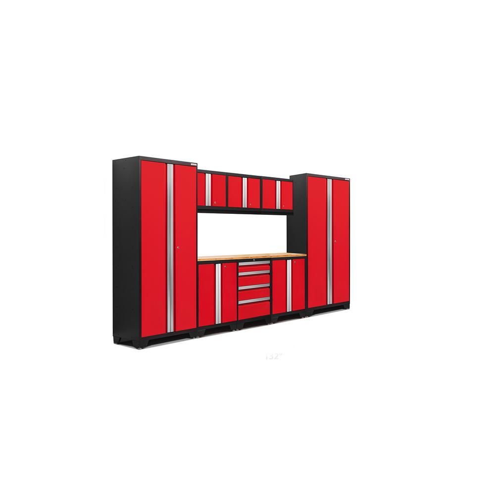 Bold 3.0 77 in. H x 132 in. W x 18 in. D 24-Gauge Welded Steel Bamboo Worktop Cabinet Set in Red (9-Piece)