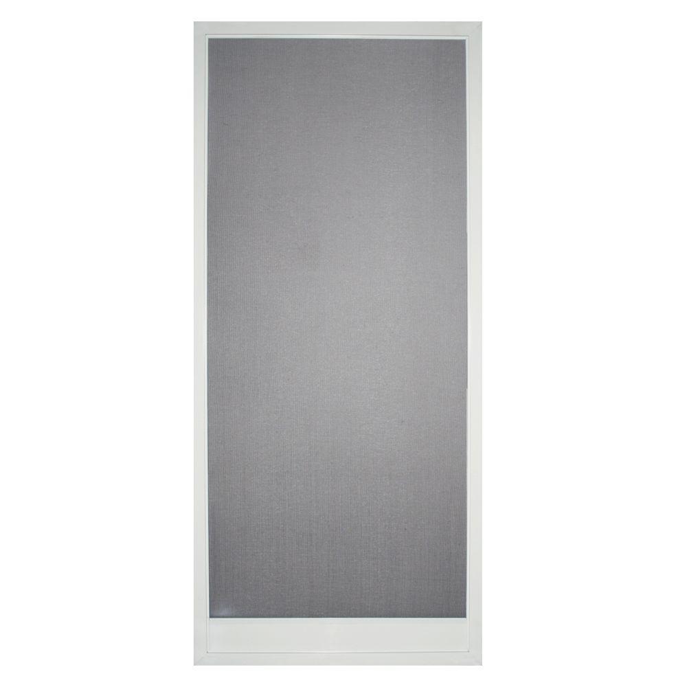 32 in. x 80 in. Bay Breeze Steel White Screen Door
