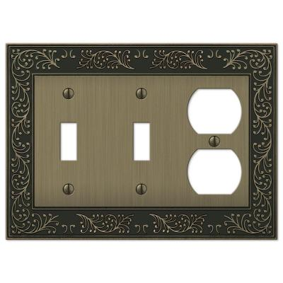 Bleinhem 3 Gang 2-Toggle and 1-Duplex Metal Wall Plate - Brushed Brass