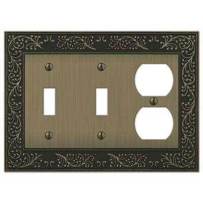 English Garden 2 Toggle 1 Duplex Combination Wall Plate - Brushed Brass