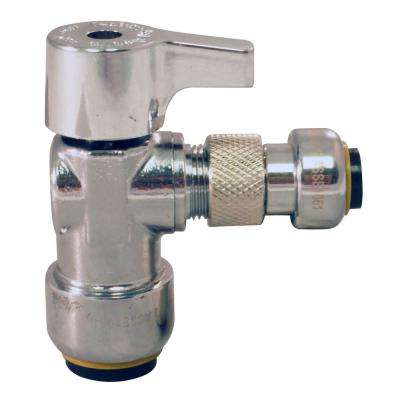 1/2 in. Chrome-Plated Brass Push-to-Connect x 1/4 in. Push-to-Connect Quarter-Turn Angle Stop Valve